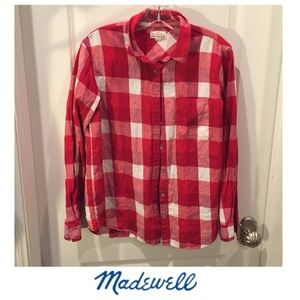 Madewell Broadway & Broome Red & White Flannel